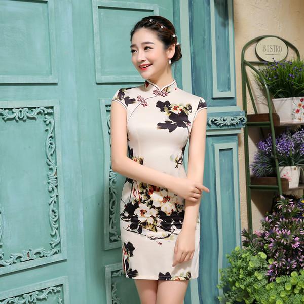 Zarif Kadın Cheongsam Eski Qipao Kısa Çin Elbise Kadın Abiye Çince Geleneksel Kostüm 18