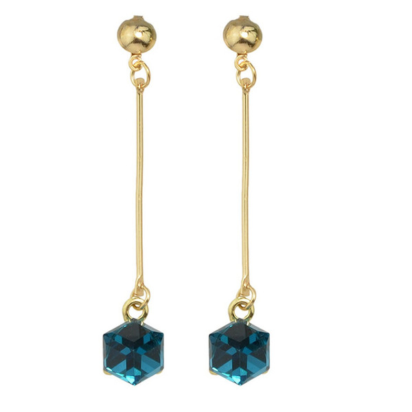 Elegant Gold-Color With Long Square Colorful Crystal Dangle Cute Earrings for Women Brincos 2018 Factory Wholesale
