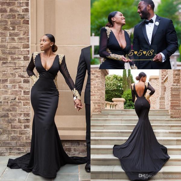 2019 South Arabic Black Prom Kleider Mit Aufsteckausschnitt Sheer Long Sleeves Gold Appliques Mermaid Formale Abendkleider