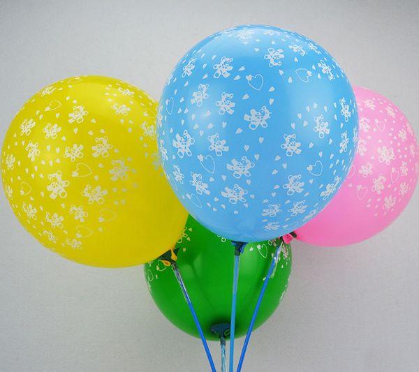 100Pcs/Lot 12 inch Creative Good Quality Mixed Color Ballons Small Bear Printed Latex Balloons Party Cartoon Balloon Toys Free Samples
