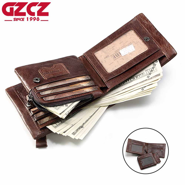 GZCZ Echtes Leder Brieftasche Männer Reißverschluss Design Bifold Kurz Männlichen Kupplung Mit Kartenhalter Geldbörse Crazy Horse Braun Brieftaschen