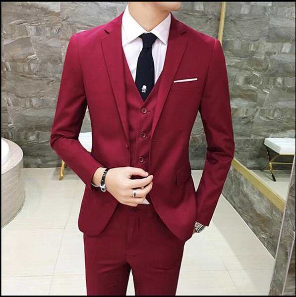 Tailor Made Red Wedding Suits For Men Slim Fit Groom Prom Blazer Formal Luxury Dress Suit 3 Piece Tuxedo Jacket+Pants+Vest Terno