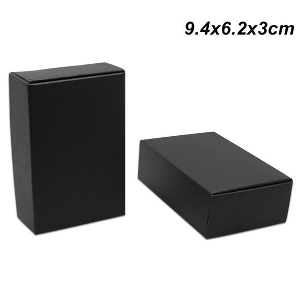 50Pcs Small 9.4x6.2x3cm Black Kraft Paper Box Gift Packing Box for Jewelry DIY Handmade Soap Candy Bakery Cake Cookies Chocolate Baking Box