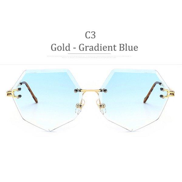 Lente blu sfumata con montatura in oro C3