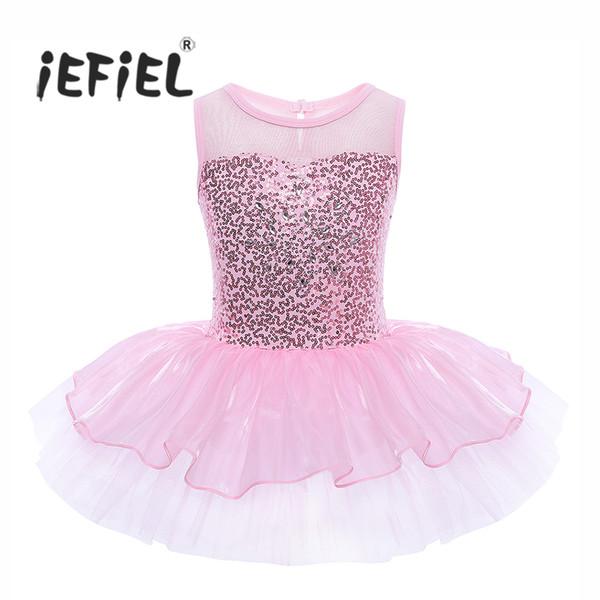 eb0ca53b77f5 iEFiEL Girls Sleeveless Sequins Formal Ballet Dance Gymnastics Leotard Dress  Ballet Dancer Tutu for Kids Children's Ballerina