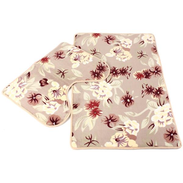 2pcs / set tapis de salle de bains tapis tapis set corail molleton plancher tapis de bain tapis kit de toilette motif antidérapant salle de bains décor