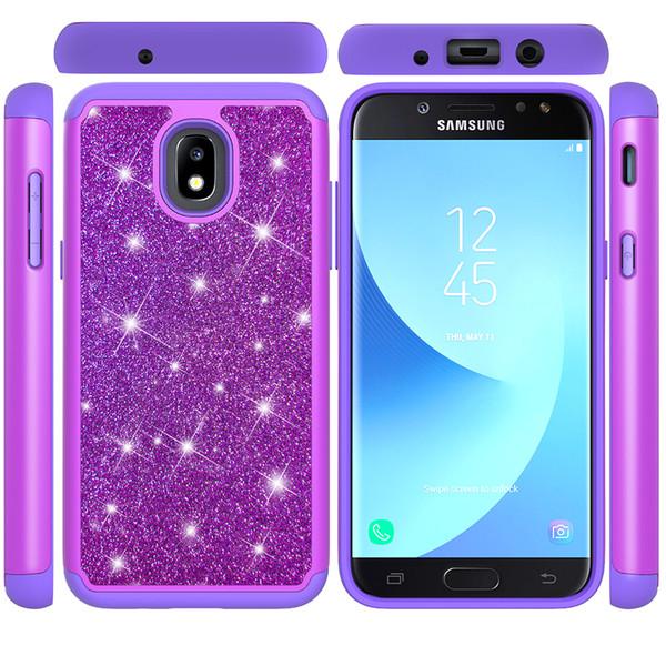 New Hybrid Armor Rubber Phone Case For Samsung J3 J7 2017 J3 J7 Prime 2018 Bling Glitter Heavy Duty Back Cover