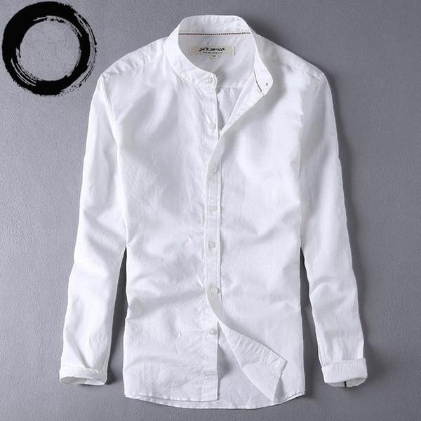 Mens Shirts Long Sleeve Cotton Linen Mandarin Collar Casual Shirt Male Dress Shirts Slim Fit Shirt Men Chemise Homme TS-225