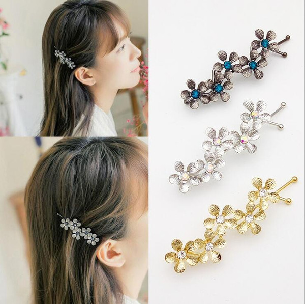 New Arrival five-leaf flower rhinestone 3 colors side clip bangs clip hair clips barrettes for girls free shipping