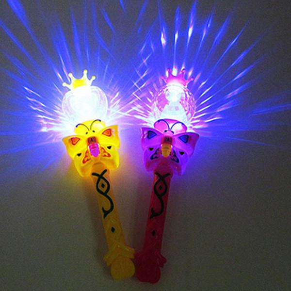 Wholesale- Novelty Kids Light Flashing Princess Fairy Magic Wand Sticks Girls Party Favor Cheer Supplies