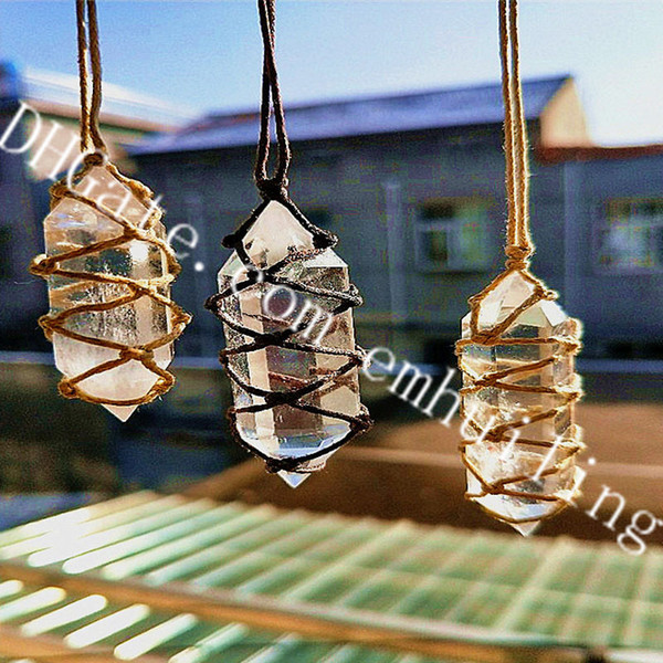 10Pcs Clear Quartz Crystal Necklace Hand Woven Rope Wrapped Natural Double Terminated Faceted Gemmy Quartz Pillar Point Pendant Luck Jewelry