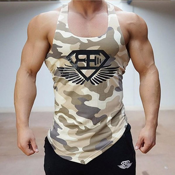 Wholesale- Cotton Designed Men's Tank Top Fitness Stringer Vest Casual T shirts Sleeveless Undershirts Man Singlets