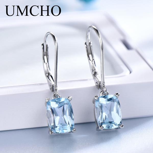 UMCHO Genuine 925 Sterling Silver Sky Blue Topaz Drop Earrings Elegant Gemstone Wedding Engagement Jewelry For Women Gifts Y18110110
