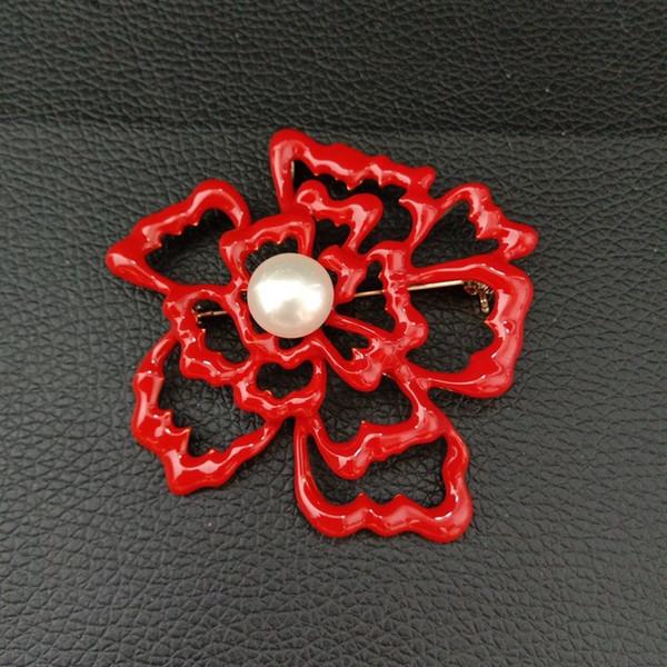 BR091222 12MM White Pearl Flower Brooch