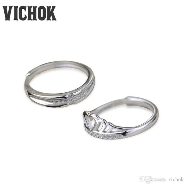 925 Sterling Silver Couples Ring Set Top Quality Crown Platinum Plated For Women Men Resizable Fine Jewelry Wedding Rings For Women VICHOK