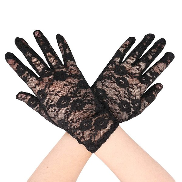 Short Lace Black Gloves Evening Clothes Bow Gloves Women Wrist Length Floral Bride Accessories Gift AuraPicco
