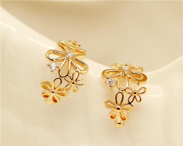 best selling 50 pair lot,Elegant Hollow out Drill ear clip Ear - free ear buckle Women Glittering Earrings Flower modeling Adjustable Not fading Earrings