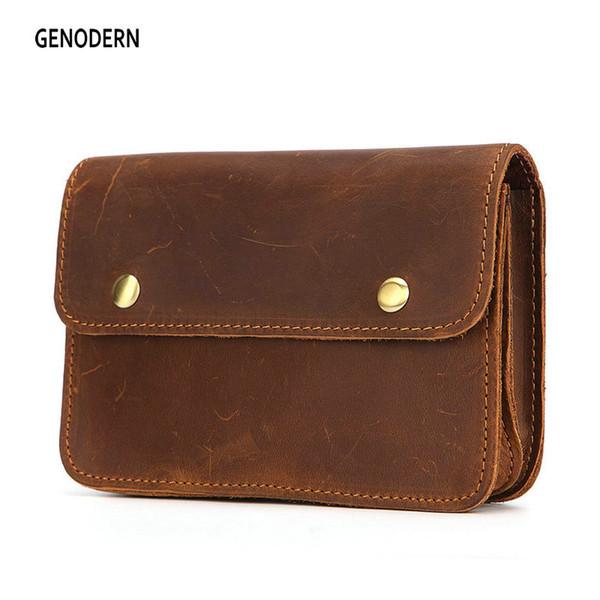 GENODERN Vintage Brown Waist Pack Men Genuine Cow Leather Unique Design Europe Style Card Phone Coin Key Holder Bag Small Pocket