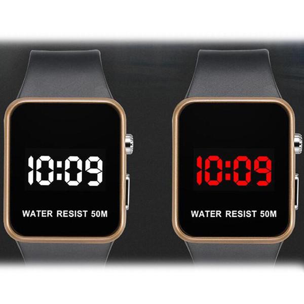 Moda LED Relojes Hombres Mujeres Deportes Relojes digitales Fecha Calendario Silicona reloj impermeable Espejo Reloj Despertador Reloj de pulsera por niubilidad