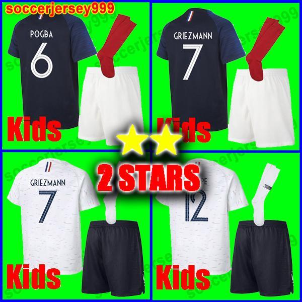 292adcd41 Two stars 2 GRIEZMANN MBAPPE Kids kit soccer jersey boys child world cup  2018 POGBA UMTITI LACAZETTE football shirt uniforms maillot de foot