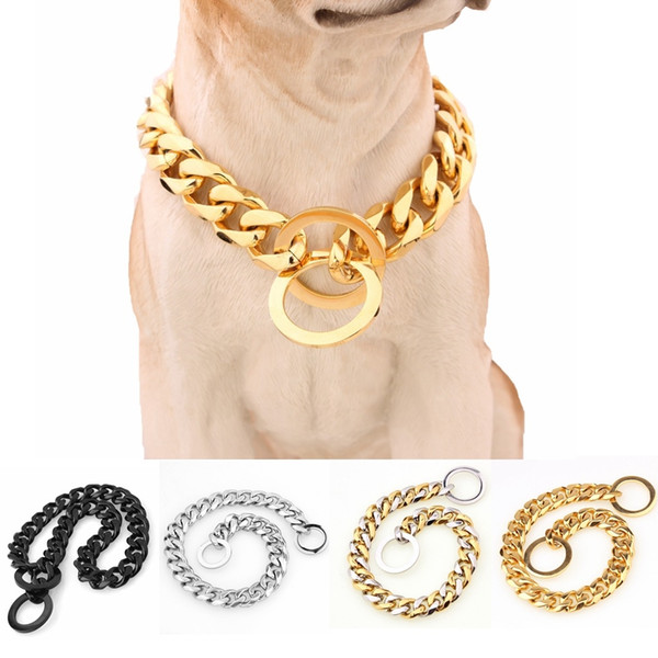 Stainless Steel Golden Color Dog Necklace Dollar Charm Chain 15Mm Amazon Hot Selling Titanium Pet Collar
