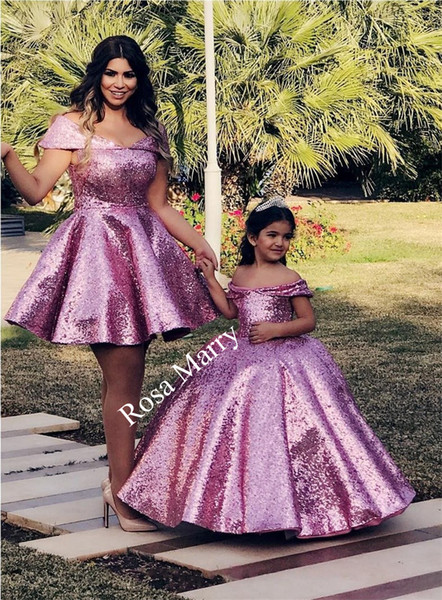 Purple Sequined Ball Gown Mother and Daughter Dresses 2020 Off Shoulder Plus Size Cheap Family Matching Formal Prom Party Gowns for Kids