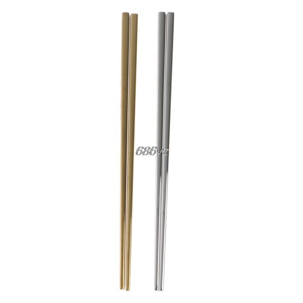Chinese Chopsticks Stainless Steel Reusable Cutlery Square Shape 1 Pair N27 Drop Ship
