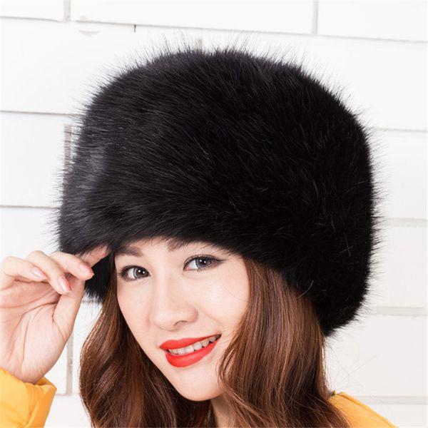 Fashion Faux Fur Winter Warm Lady Women Soft Ski Hat Cossack Cap Ladies Fashion Artificial Fur Bomber Hats Keep Warm