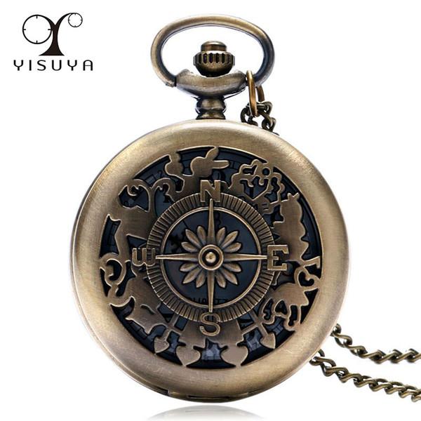 Fashion Vintage Alice In Wonderland Bronze Quartz Pocket Watch Compass Pattern Rabbit Flower Key Pocket Watch Necklace Chain