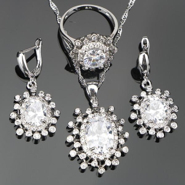 intero venditaWhite Zircon Costume in argento 925 Set di gioielli per le donne Pietre di nozze Anelli Orecchini Pendente Set di gioielli Gift Box