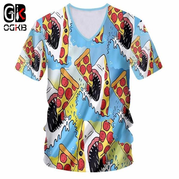 OGKB Hiphop Punk Sexy V Neck Tee Shirt Women/men's Print Shark Eat Pizza 3D T-shirt Short Sleeve Casual Tshirts New Harajuku
