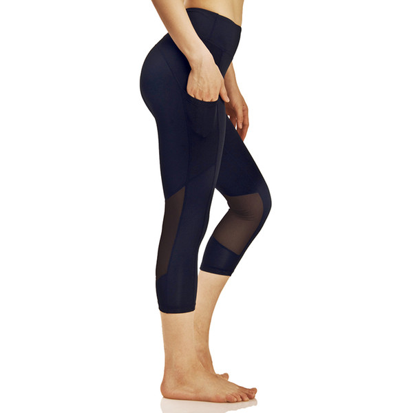 7ebcaa478879 2019 High Waist Out Pocket Cropped Yoga Pants For Women Mesh Panel  Compression Workout Running Sport Leggings Stretch Yoga Capris From Johiny,  $24.21 ...