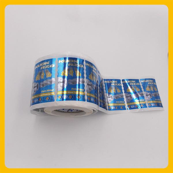 Customized high glossy effect PET waterproof metal package wave edge roll logo label sticker