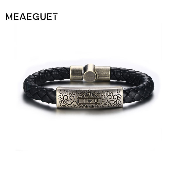 Meaeguet Rock Street Style Vintage Heart I Love U Charm Bracelet & Bangle For Women Men Braid Genuine Leather Rope Chain Jewelry