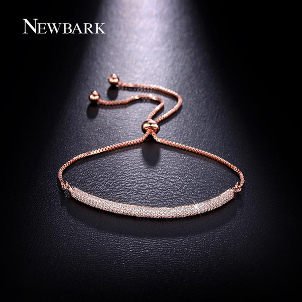 NEWBARK Charm Rose Gold Color Bracelets AAA CZ Stone Geometric Shaped Chain & Link Trendy Bracelets Best Jewelry Gift For Women