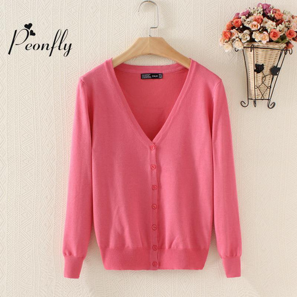 new Sweater Women Cardigan Knitted Sweater Coat Long Sleeve Crochet Female Casual V-Neck Woman Cardigans Tops poncho pull femme S18101006