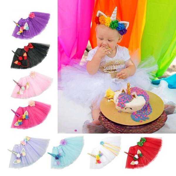 Unicorn Hair Bands And Tutu Dress Set Decoration Party Decoration Unicorn Party Craft Supplies Christmas New Year Decor For Kids