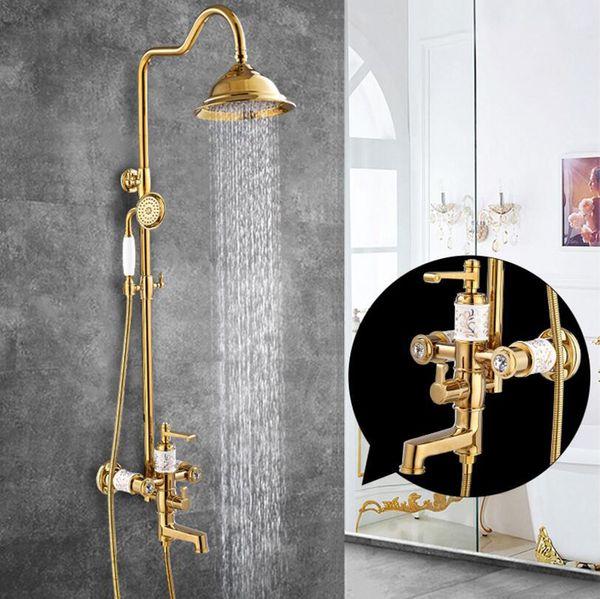 Новая Ванная Комната Дождь Душевой Набор Золотой Настенный Душ для Ванны Высокое
