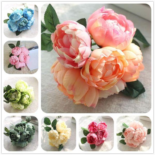 LIN MAN 2018 Silk flower wedding bouquet peony damask Rose Artificial flowers vivid fake wedding flower bridal bouquets decoration