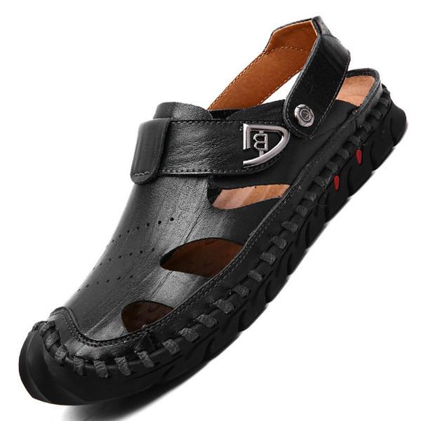 2018 nuevas sandalias de cuero gladiador hechos a mano de verano zapatos casuales suaves cómodos chanclas marca de moda zapatos de playa