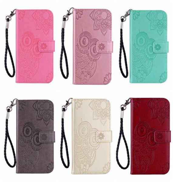 Imprint Owl PU Leather Wallet Case For Iphone XR XS MAX Galaxy Note 9 (J4 J6 A6 Plus)2018 Flower Lace Cute Card Slot Flip Cover Pouch Strap