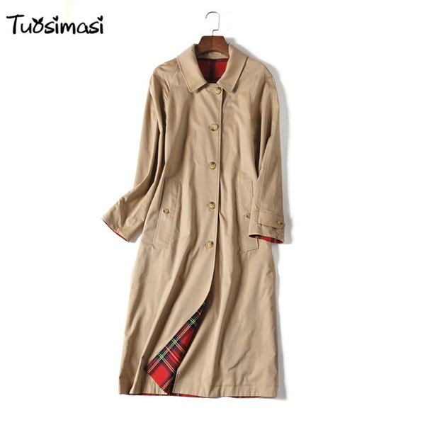 2018 wind coat new solid two siade wear Long solid color women coat Trench (B021)
