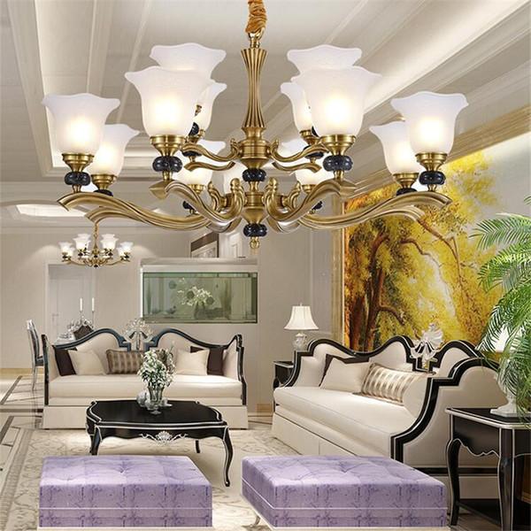 2019 Luxury European Style Copper Chandeliers Office Hotel Lobby Living Room Home Aisle Villa Duplex Floor Simple Jade Lamp From Ledleader 503 52