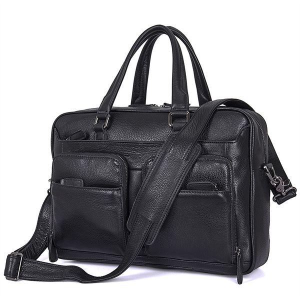 Nesitu High Quality Black Genuine Leather 14'' Laptop Men Briefcase Portfolios Male Messenger Bag Business Travel Bags M7373