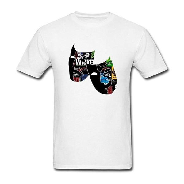2017 Short Sleeve O-Neck Men's Broadway Theatre Mask Work Collage T Shirt Fashion 100% Cotton T-Shirt