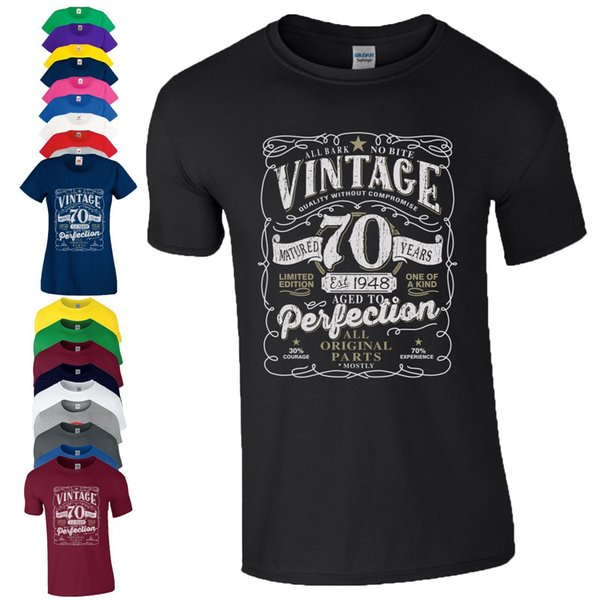 Acquista T Shirt Da 70 Compleanno Regalo Made In 1948 Parti Originali Da 70 Anni Da Donna Uomo Top Cool Casual Organza Da Uomo T Shirt Unisex A