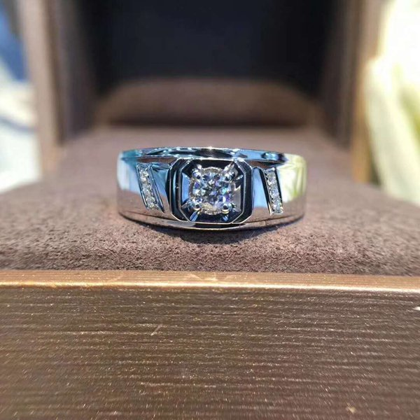 2019 New Jewelry 9K,14K,18K Gold 1Ct Simple Gentleman Micro-inlay Lab Diamond Moissanite Wedding Ring With Certificate