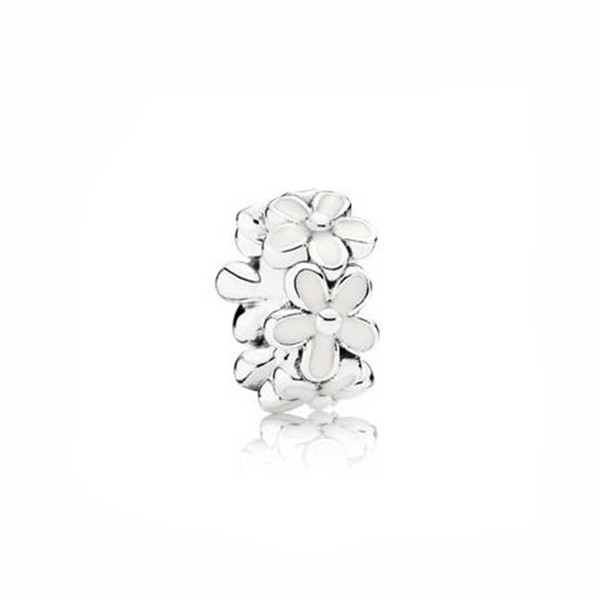 Authentic 925 Silver Beads Sterling Silver Darling Daisies Spacer, White Enamel Fits European Style Jewelry Bracelets & Necklace