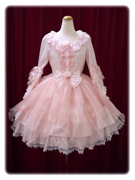 Mulher elegante senhoras cosplay lolita rosa lace dress lolita
