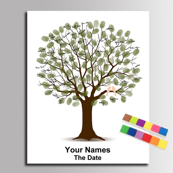 Personalized Wedding Custom Guest Book Fingerprint Tree Love Birds Signature Painting Canvas Painting Anniversary Wedding Gifts